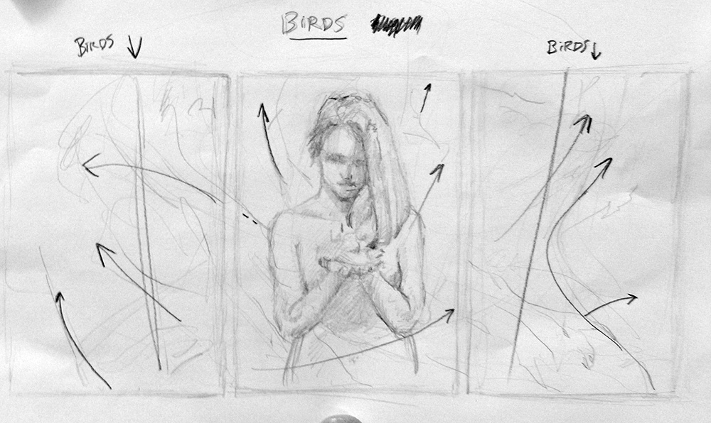 Sketch of the triptych pencil drawing called Birds - by Scott Hutchison