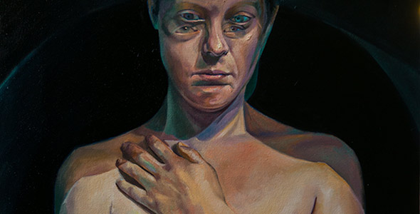 A Moment Between by Scott Hutchison - Oil painting - A woman with moving pose - Thumbnail