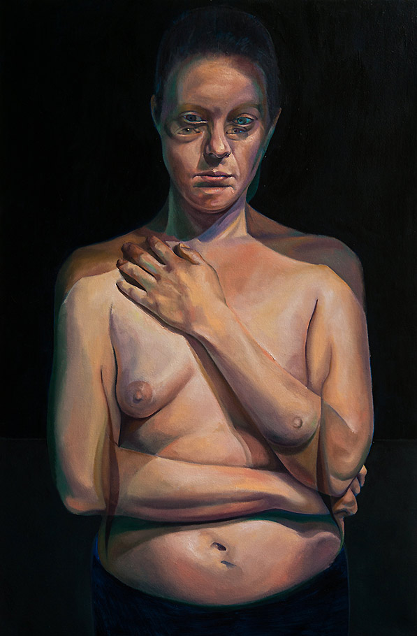 A Moment Between by Scott Hutchison - Oil painting - A woman with moving pose - Layer 2
