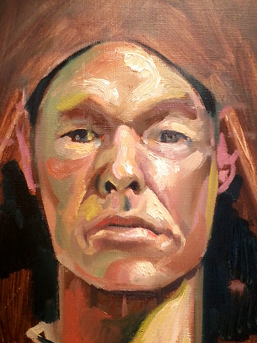 Scott Hutchison - Red and Green - Oil Painted Self Portrait - Layer 1