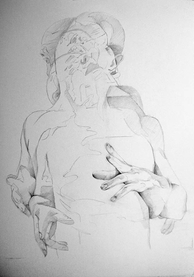 Scott Hutchison - Displaced - Graphite Contour Drawing of layered figures