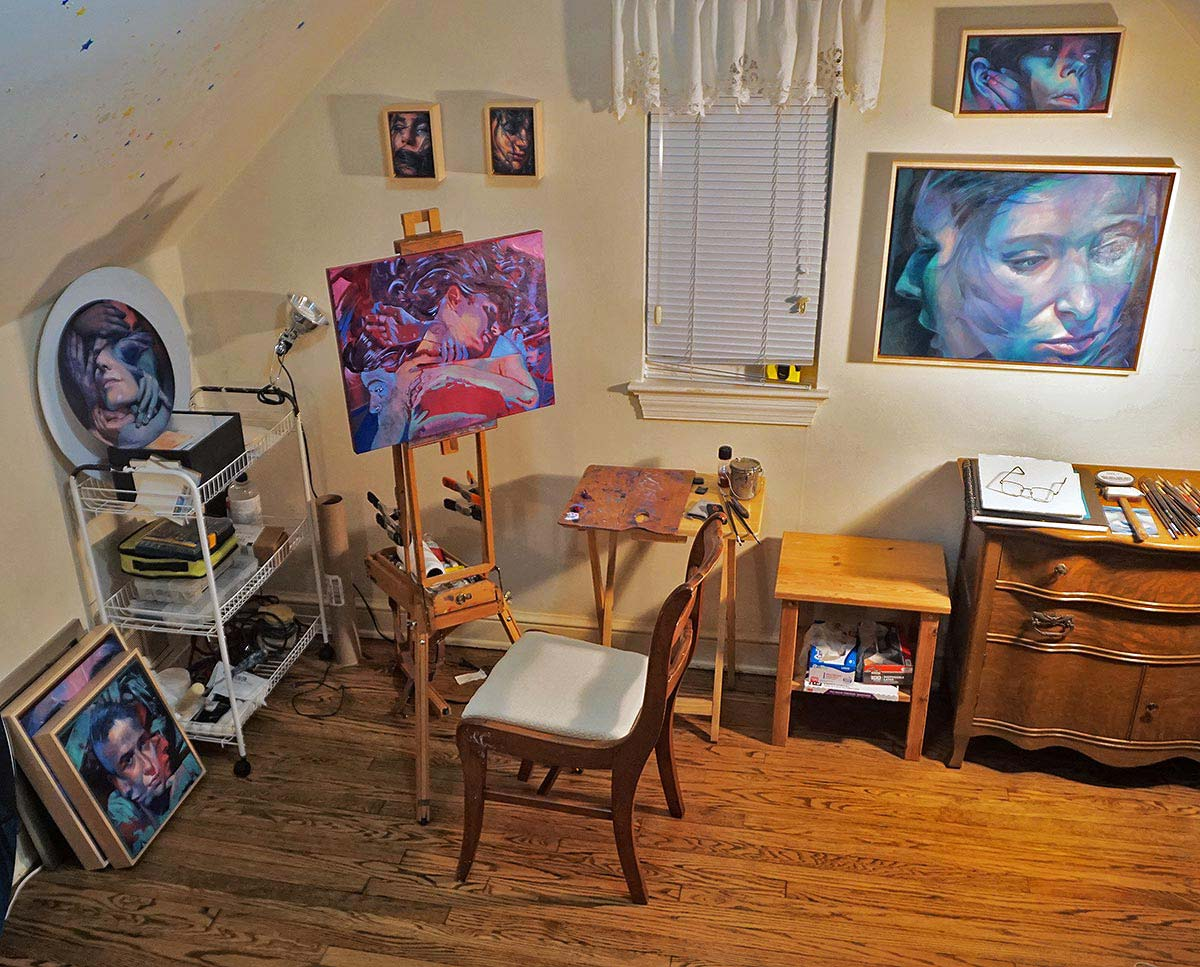 Scott Hutchison's studio with Impermanence on his easel