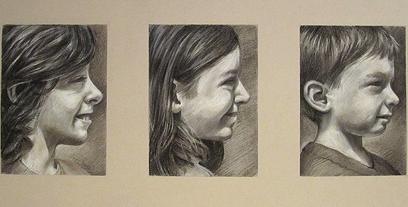 Cousins - Charcoal and conte portrait commissions by Scott Hutchison - Thumbnail