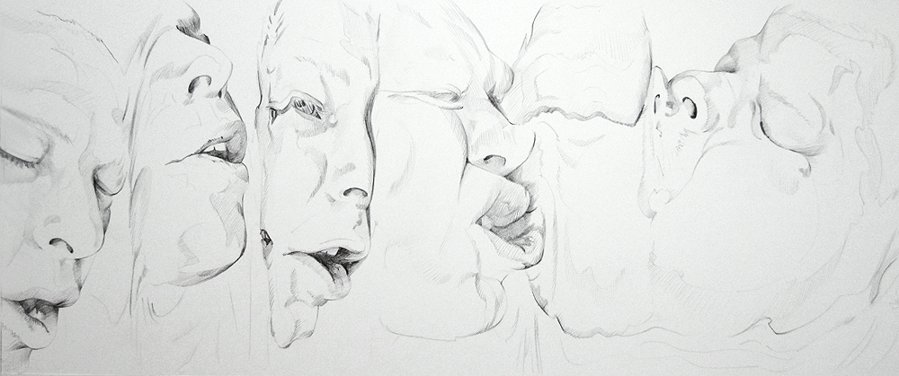 Scott Hutchison - Melt - Contour Drawing of Multiple Faces