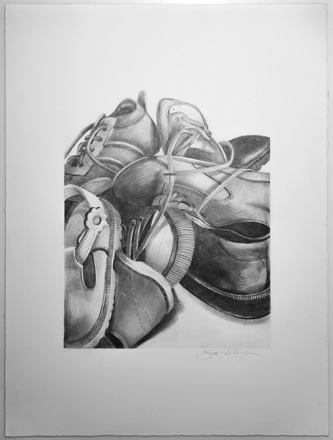 Drawing of many Empty Shoes in a Pile by Scott Hutchison
