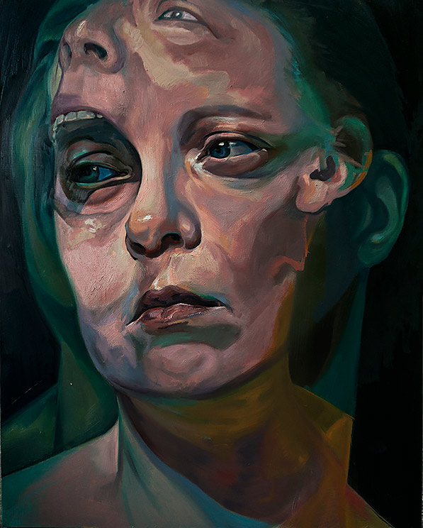 Before the After by Scott Hutchison - Oil painting of two faces screaming - Layer 2