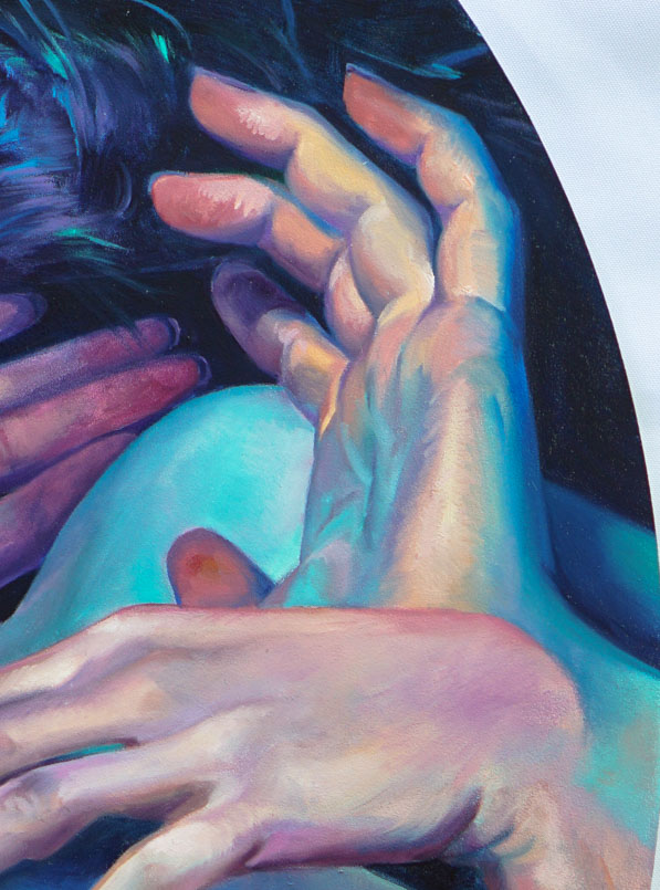 "Scott Hutchison Medusa, 18"" x 24"" oil on Aluminum - Detail 1"