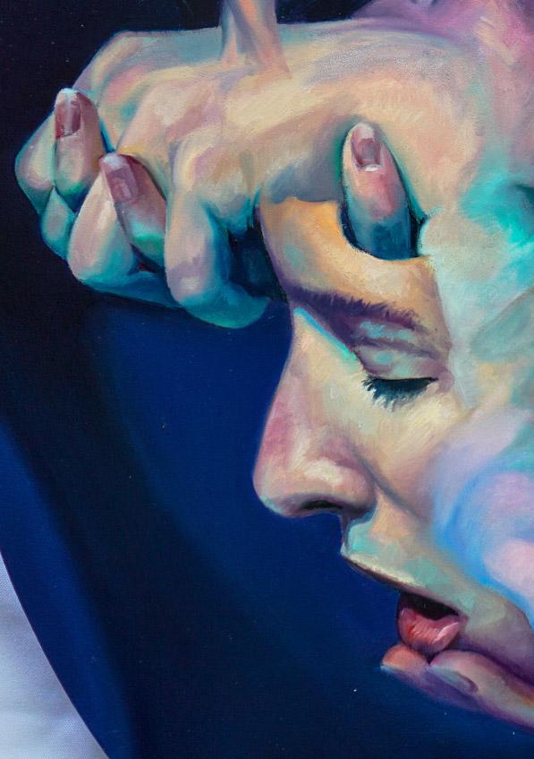 "Scott Hutchison Medusa, 18"" x 24"" oil on Aluminum - Detail 3"
