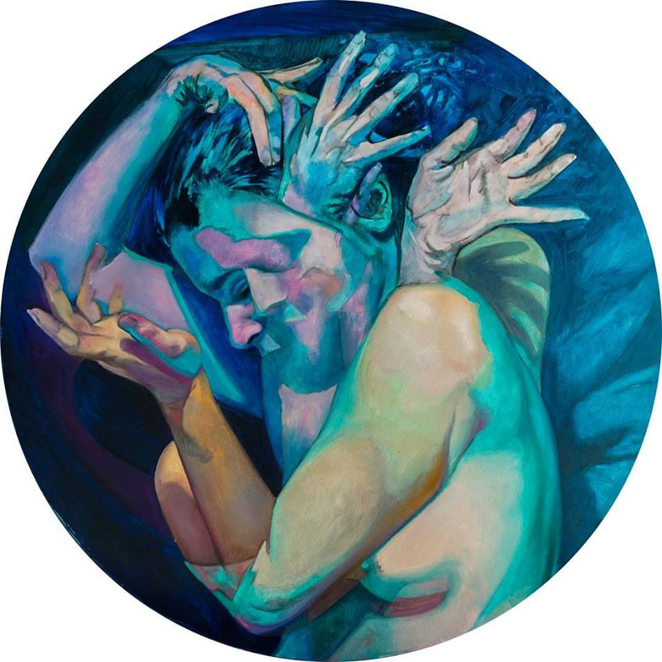 """First layer of a painting of a woman with hands protruding from her back titled """"Metamorphosis"""""""