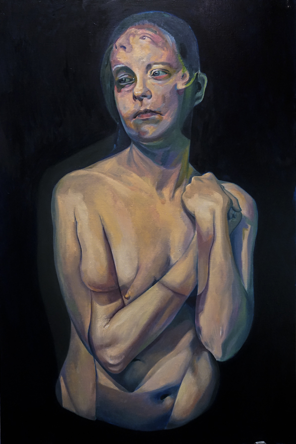 A Moment After by Scott Hutchison - Oil painting - A woman with two conflicting emotions - Layer 3