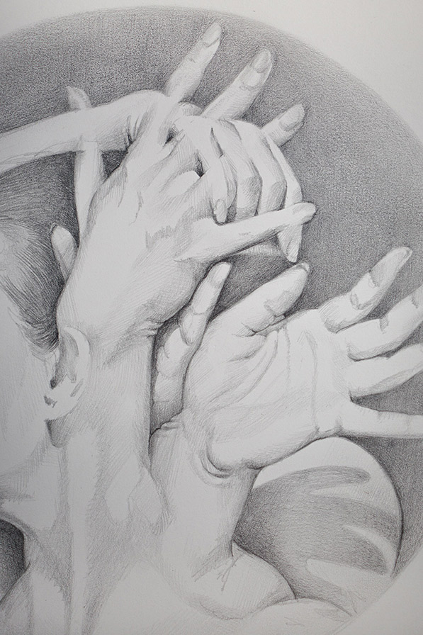 A Detail view of the hands
