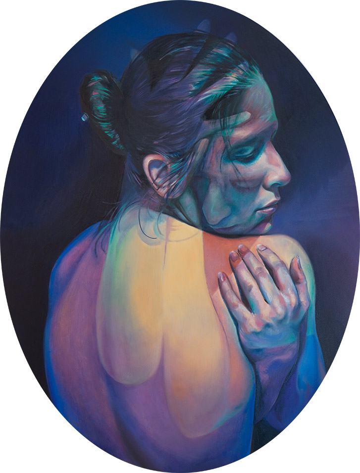 Finished oil painting by Scott Hutchison titled Imaginary Grasp of two figures combined in an embrace