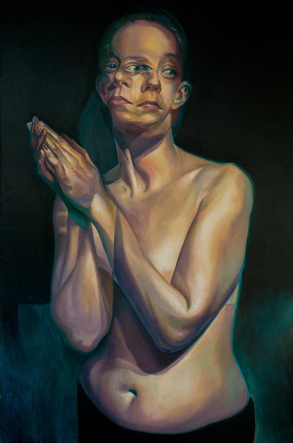 A Moment Before by Scott Hutchison - Oil painting - A woman praying -  Finished