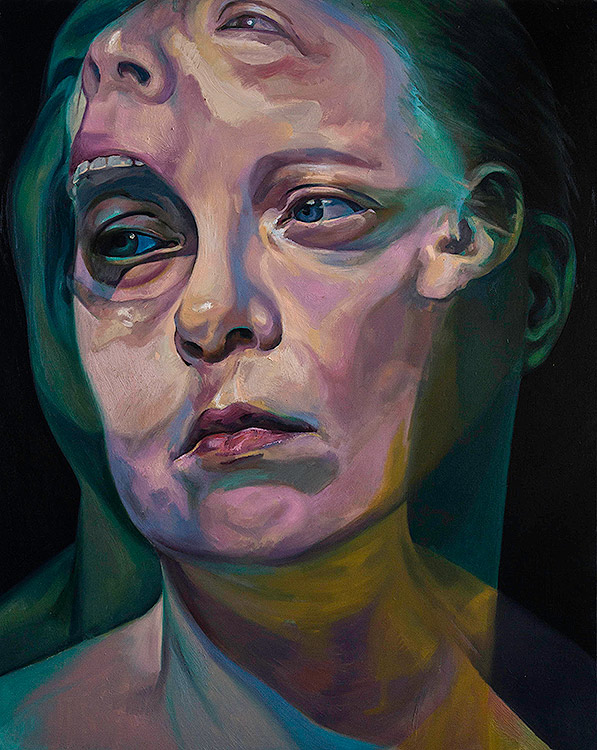 Before the After by Scott Hutchison - Oil painting of two faces screaming