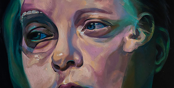 Before the After by Scott Hutchison - Oil painting of two faces screaming - Thumbnail