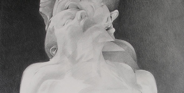 Scott Hutchison - Displaced - Graphite Drawing of layered figures - Thumbnail