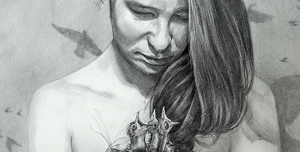 Birds by Scott Hutchison - graphite drawing - Woman holding birds nest made of her hair - Thumbnail