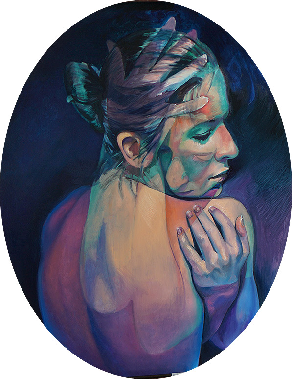 Second Layer of painting by Scott Hutchison titled Imaginary Grasp of two figures combined in an embrace