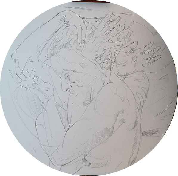 "The initial graphite drawn layer of ""Metamorphosis"""