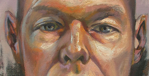Scott Hutchison - Red and Green - Oil Painted Self Portrait