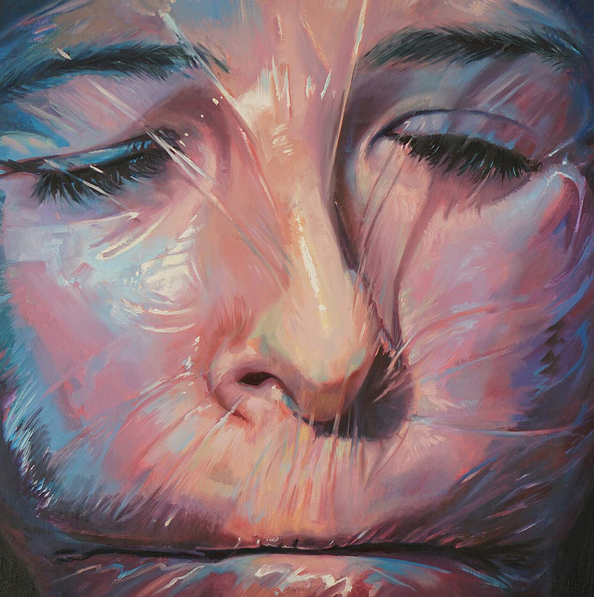 Oil portrait painting of female face wrapped in plastic