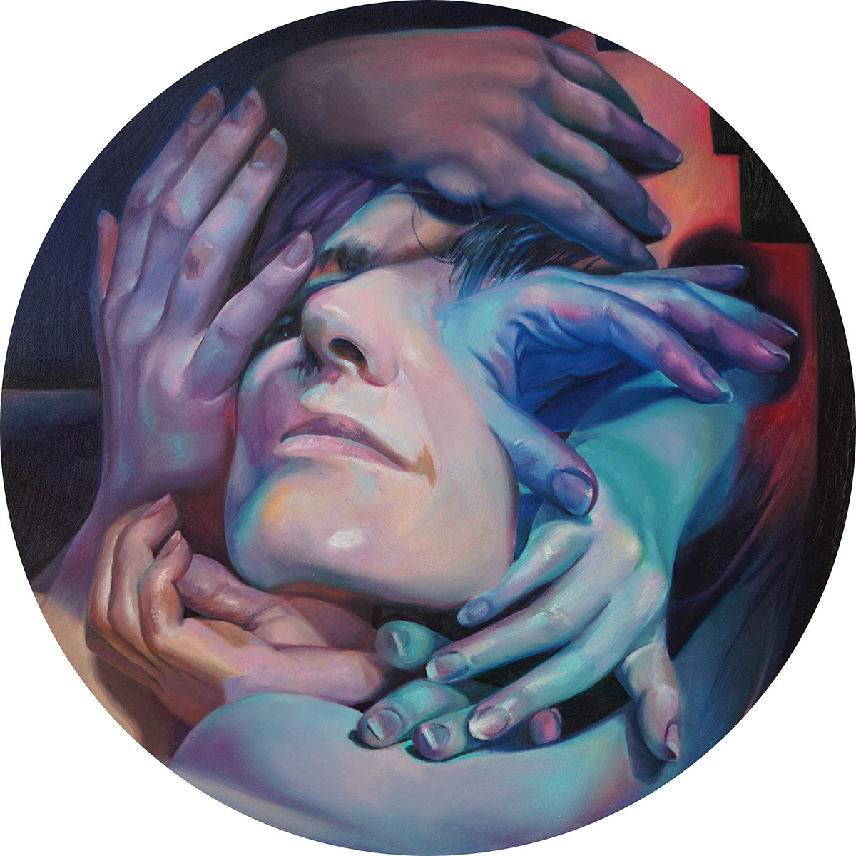 Click Here to See Scott Hutchison's round 14 inch oil painting on aluminum titled Procession