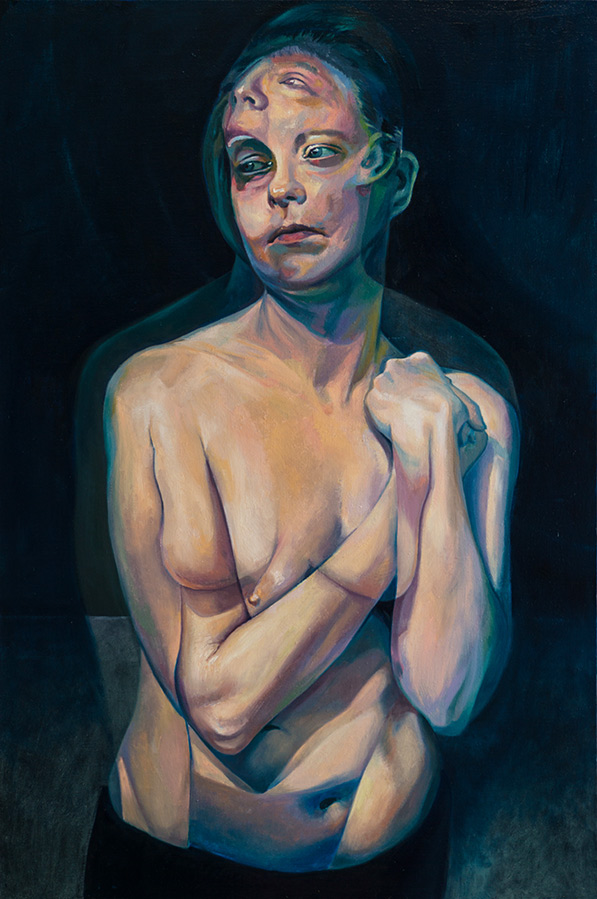 A Moment After by Scott Hutchison - Oil painting - A woman with two conflicting emotions