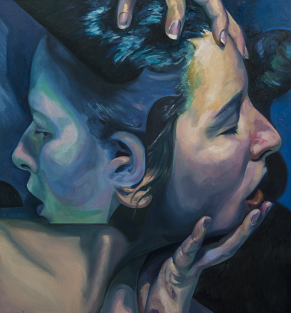 The final layer of the double portrait painting titled Entwined by Scott Hutchison