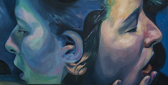 Thumbnail Image of the double portrait painting titled Entwined by Scott Hutchison