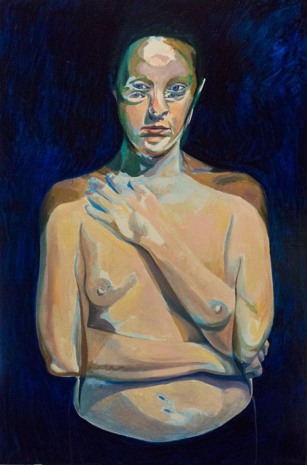 A Moment Between by Scott Hutchison - Oil painting - A woman with moving pose - Layer 1