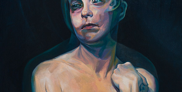 A Moment After by Scott Hutchison - Oil painting - A woman with two conflicting emotions - Thumbnail