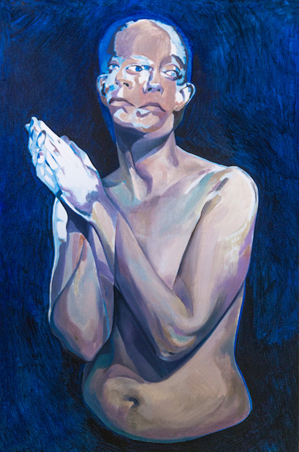 A Moment Before by Scott Hutchison - Oil painting - A woman praying - Blue first layer