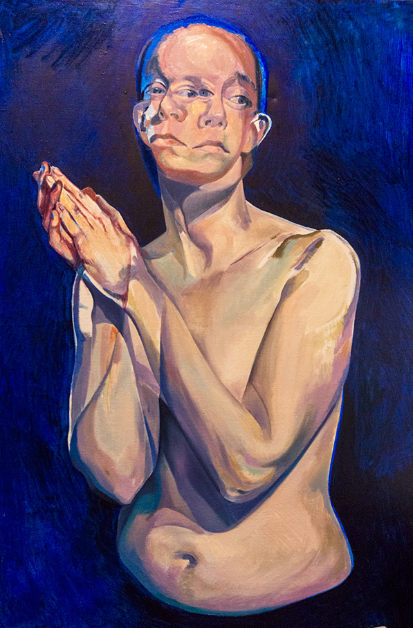 A Moment Before by Scott Hutchison - Oil painting - A woman praying - Second layer
