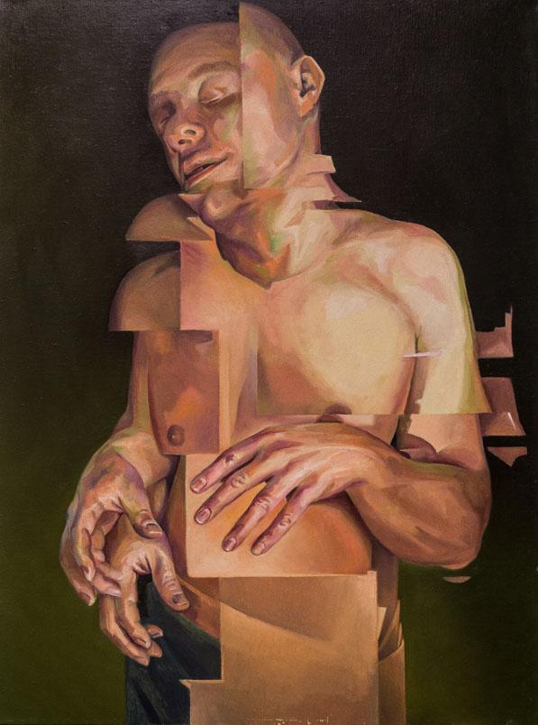 Shift oil painting on linen by Scott Hutchison - Broken Figurative Torso
