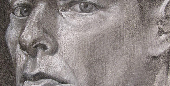 Self Portrait Two - Charcoal and conte portrait commissions by Scott Hutchison - Thumbnail