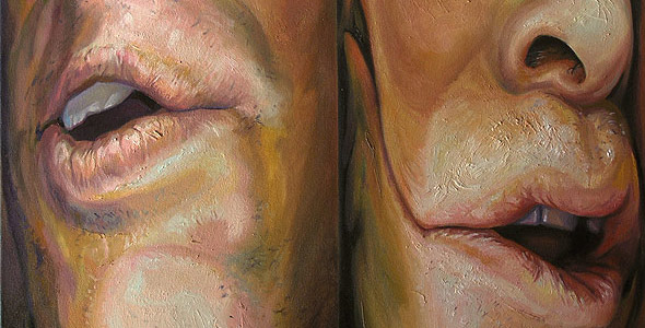 Squeezed - Double portrait - oil on canvas by Scott Hutchison  - Thumbnail