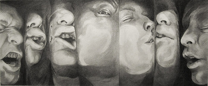 Scott Hutchison - Struggle - graphite drawing of multiple squished faces