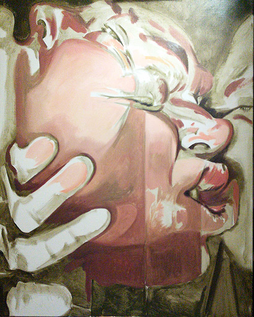 Scott Hutchison - Touch - oil painting of squished face with hand layer 3