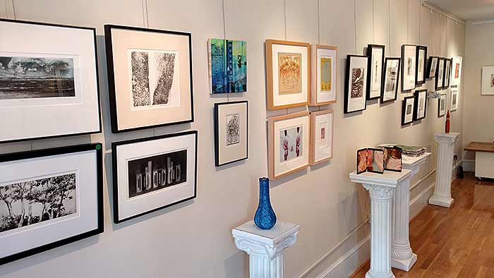 Gallery View of Washington Printmakers Gallery Annual Small Works being Installed