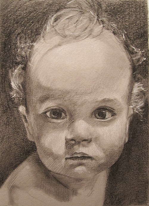 Zhenya - Conte and Carbon drawing of baby by scott hutchison