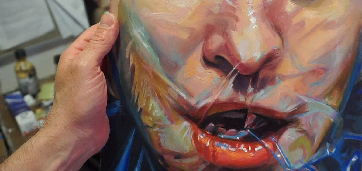 Scott Hutchison Varnishes one of his paintings