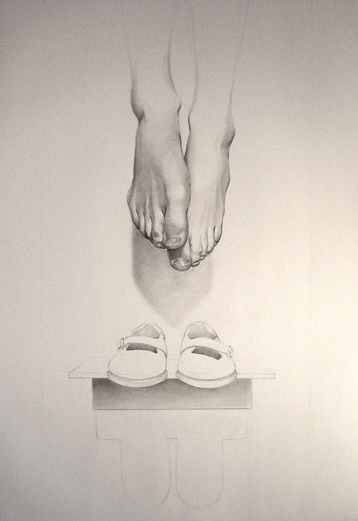 Relic by Scott Hutchison - Graphite drawing of hanging feet and shoes