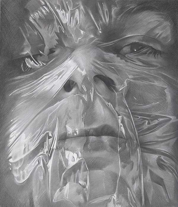 Scott Hutchison - Plastic - Drawing of Face Wrapped in Plastic