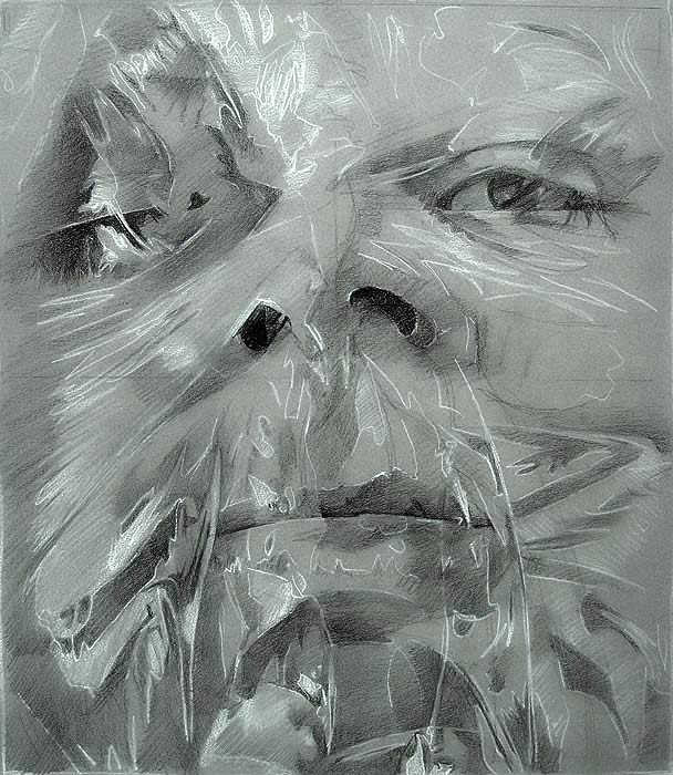 plastic wrapped portrait in charcoal