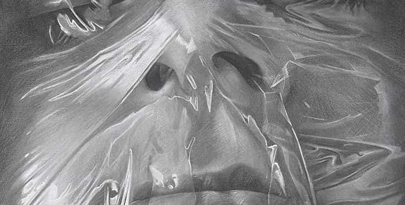 Scott Hutchison - Plastic - Charcoal and Conte Drawing of Face Wrapped in Plastic