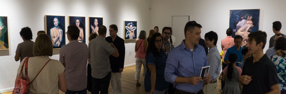 The crowd during opening night at The Hillyer Art Space